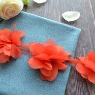 Шифоновый цветок алый 6см