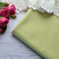 Хлопковая ткань зеленая в белый горошек TKC007