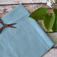 Хлопковая ткань голубая в белый горох TKC008