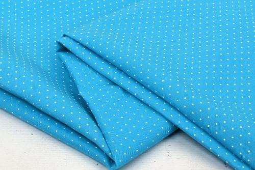 Хлопковая корейская ткань голубая в горошек TKC010