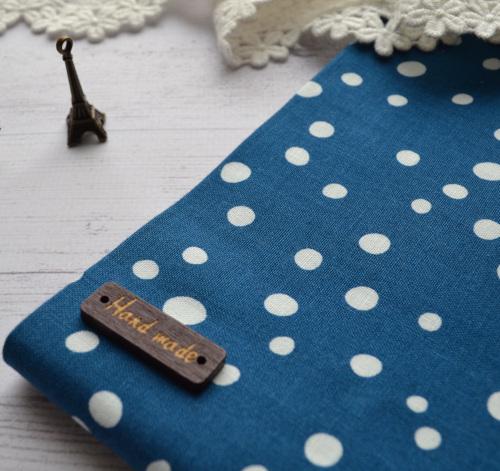 хлопковая ткань синняя в белый горошек