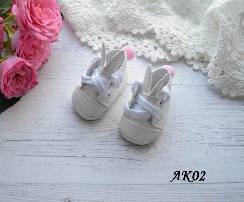 Туфельки с ушками для кукол белые 5*5 * 2,8 см • AK02