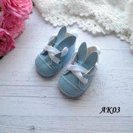 Туфельки с ушками для кукол голубые 5.5 * 2,8 см