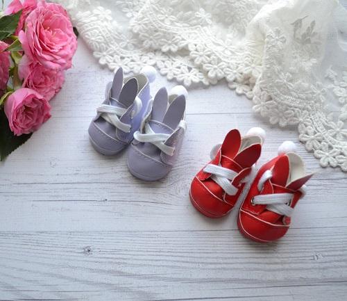 Туфельки с ушками для кукол фиолетовые 5,5 * 2,8 см • AK05 1