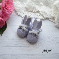 Туфельки с ушками для кукол фиолетовые 5,5 * 2,8 см