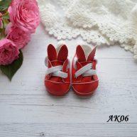 Туфельки с ушками для кукол красные 5,5*2,8см