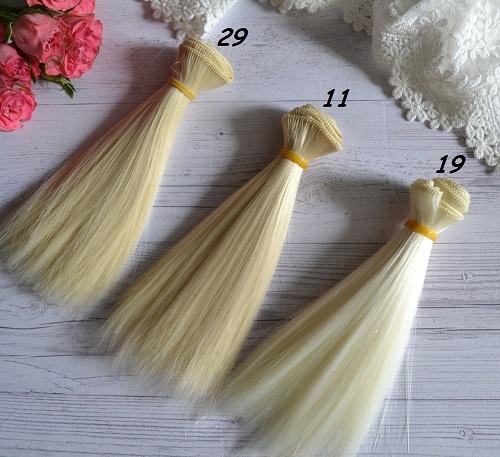 • Искусственные волосы для кукол прямые. Для текстильных кукол Тильда, Барби и т.п. Длина волос 15 см, ширина трессы 1 метр. Цена указана за 1 метр.