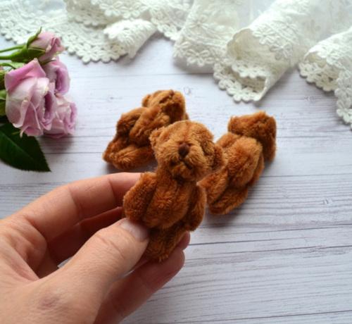 Мишка для куклы 6см коричневый • ALB01