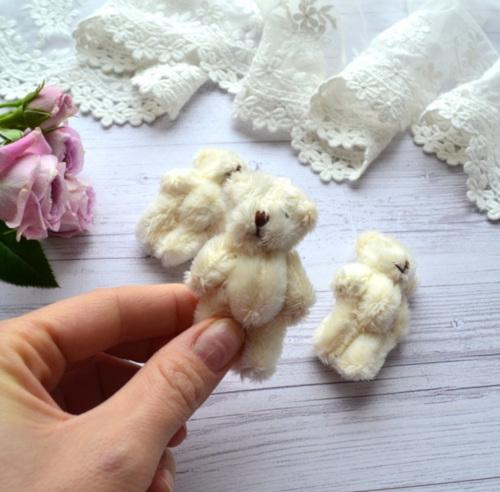 Мишка для куклы 6см молочный • ALB03