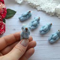 Мишка для куклы голубой 3,5см