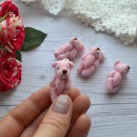 Мишка для куклы розовый 3,5см