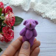 Мишка для куклы фиолетовый 5,5см