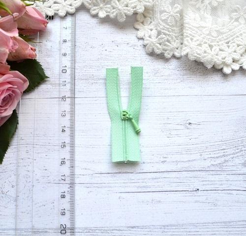 Молния для кукольной одежды 6см бледно-зеленая • AZ606