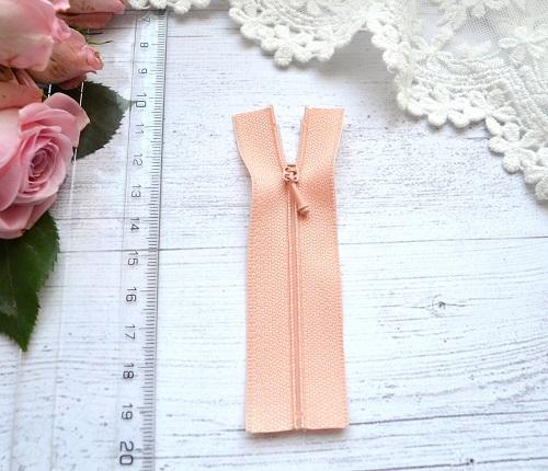 Молния для кукольной одежды 9см персиковая • AZ909