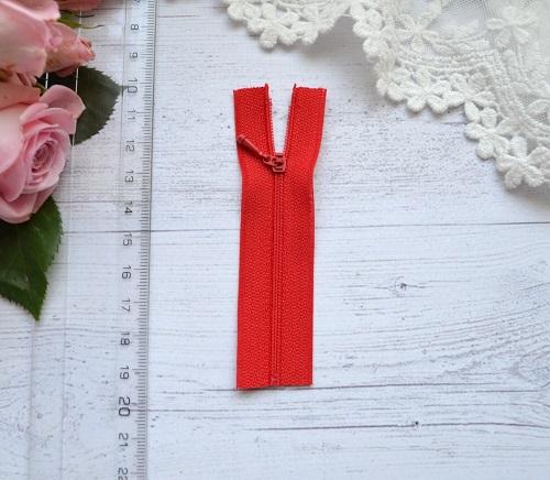 Молния для кукольной одежды 9см красная • AZ910