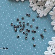 Пуговицы для кукольной одежды 3мм черное серебро B001
