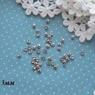 Пуговицы для кукольной одежды серебро 3мм B002