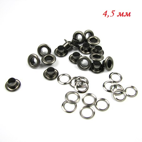 • Люверсы черное серебро. Размер  4,5 мм Цена указана за 10 шт.