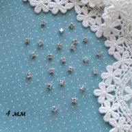 Пришивные стразы для кукольной одежды серебро 4 мм 10шт.