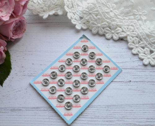 Кнопка пришивная для кукольной одежды серебро 6 мм • MF68