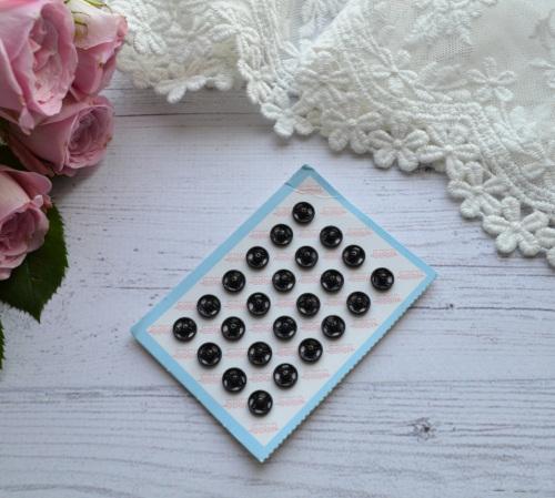 Кнопка пришивная для кукольной одежды черная 6 мм • MF69