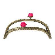Фермуар бронза с розовой розой 12,5 см