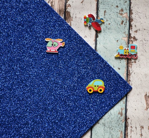 Фетр жесткий с глиттером синий FG06 • FG06