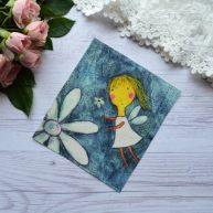 Картинка на хлопке «Фея с цветком» KH02