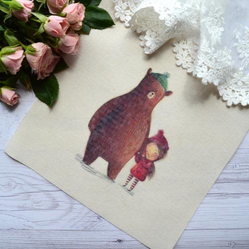 """Картинка на хлопке """"Маша и медведь"""" KH04 • KH04"""