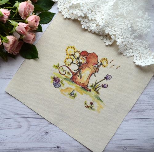 """Картинка на хлопке """"Зайченок и одуванчики"""" KH11 • KH11"""
