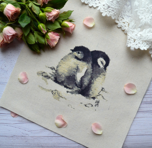 """Картинка на хлопке """"Пингвины"""" KH15 • KH15"""