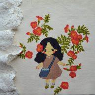 Картинка на хлопке «Девушка в цветах» KH17