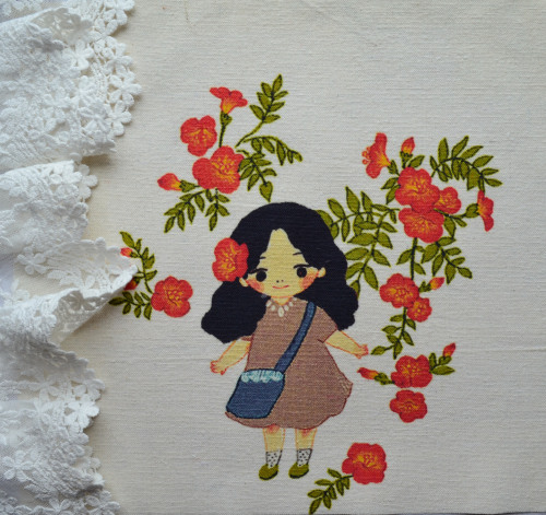"Картинка на хлопке ""Девушка в цветах"" KH17 • KH17"