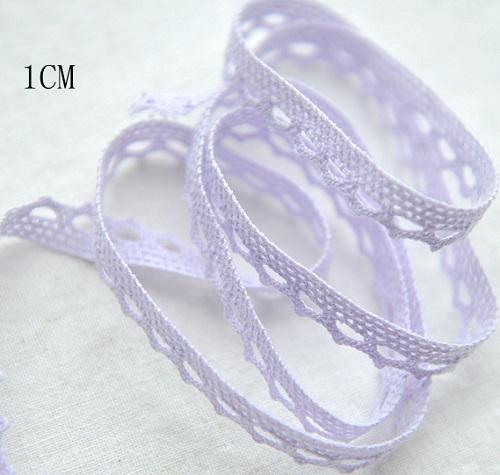 • Хлопковое узкое кружево светло-фиолетовое. Ширина: 10 мм. Цена указана за 1 метр.