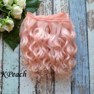 Волосы Козочка для кукол персиковые 15см Кpeach