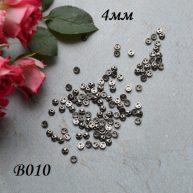 Пуговицы для кукольной одежды черное серебро 4мм B010