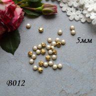Пуговицы золото с полужемчужинкой 5 мм 5шт.