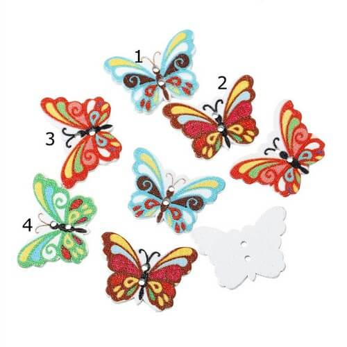 • Пуговицы Бабочка. Размер 24*22 мм Цена указана за 5 шт. Микс.