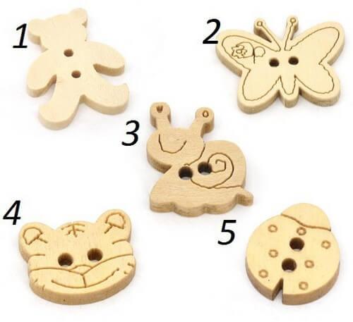 Пуговицы для детской одежды животные B073