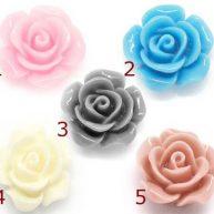 Кабошоны разноцветные цветы 5шт.