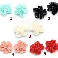 Кабошоны разноцветные цветы 5 шт.