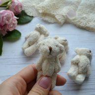 Мишка для куклы 6 см молочный