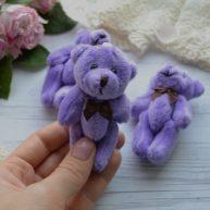 Мишка для куклы фиолетовый 8см