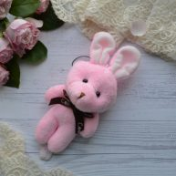 Зайка розовый 15см