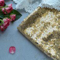 Золотые пайетки на сетке 3мм