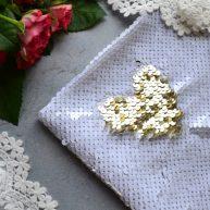 Ткань с пайетками двусторонними белые и золотые 5мм