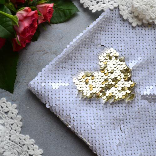 Ткань с пайетками двусторонними белыми и золотыми 5мм