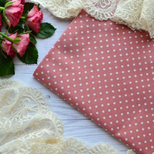 Хлопковая ткань розовая в белый горох TKR043