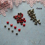 Хольнитены 4 мм красные. Основа серебро