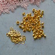 Люверсы для обуви куклы 3 мм золото в наборе 100шт
